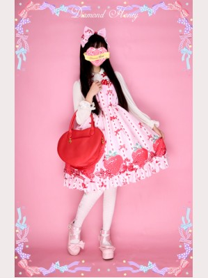 Diamond Honey Bows & Strawberries Lolita Dress JSK