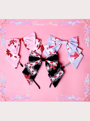 Diamond Honey Bows & Strawberries Lolita Headbow KC