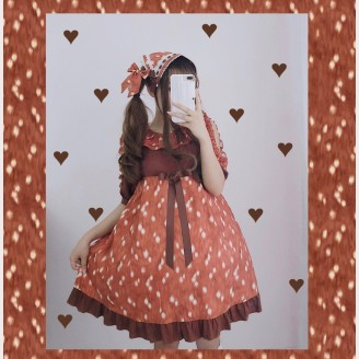 Diamond Honey Deer Skin Pattern Lolita Dress OP