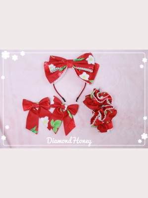 Diamond Honey Strawberries Matching Headbow/ Hairclips/ Wristbands