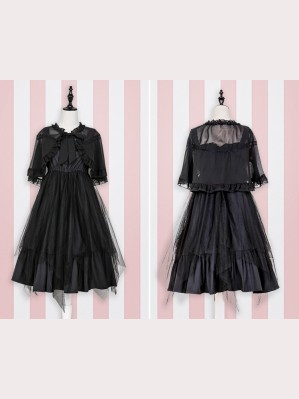 Black Gothic Lolita Dress & Cloak Set