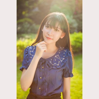 Dear my love star & moon Lolita Chiffon blouse (Short Sleeve)