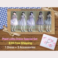 Plaid Lolita Dress OP + Headbow + Hairclips + Wristbands 4pc Set