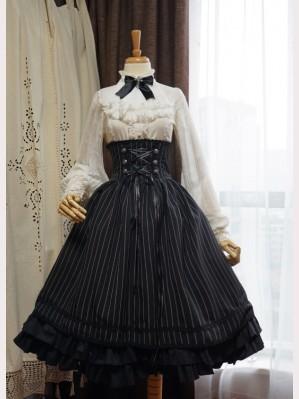 985fbcf00405 Surface Spell Boned Striped Lolita Skirt SK