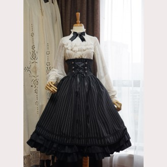 Surface Spell Boned Striped Lolita Skirt SK