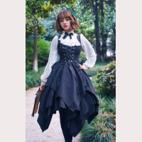 Surface Spell Gothic Striped Lolita Dress JSK