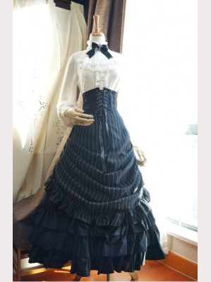 ea37ad9a9610 Surface Spell Victoria Striped Lolita Skirt SK
