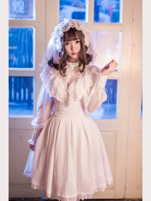 Gothic Lolita Fashion Embossed Floral Fullset (3pc: Blouse + Skirt + Headdress)