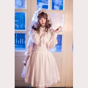 Gothic Lolita Fashion Embossed Floral Fullset (3pc: Blouse + Skirt + Headdress)