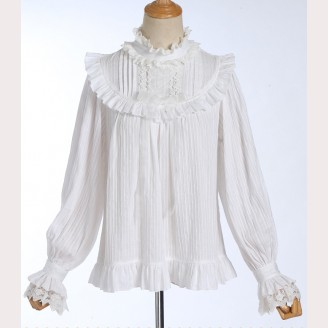 High Collar Lace Striped Classic Lolita Blouse