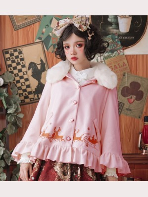 Sweet Lolita Fashion Elk Embroidery Cloak