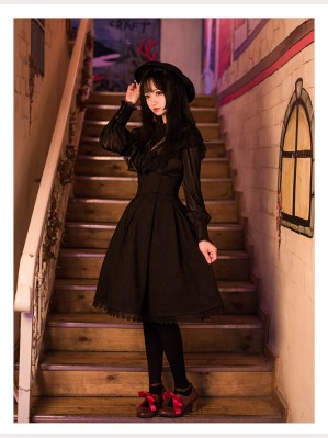 Gothic Lolita Fashion Embossed Floral Skirt SK