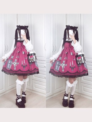 Diamond Honey Lace Cross Lolita Dress JSK