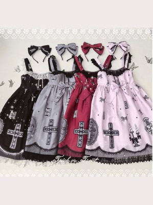Diamond Honey Lace Cross Lolita Dress JSK & KC Set