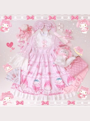 Diamond Honey Snow Strawberries Sweet Lolita Fashion Dress OP & KC Set