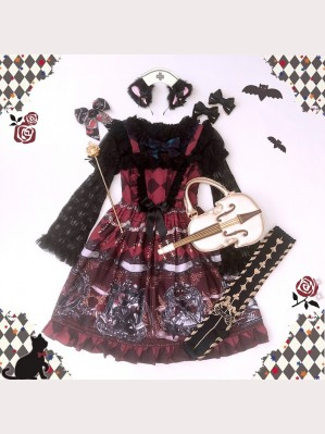 Diamond Honey Dark fairy tale retro sword knight Lolita Dress JSK & KC Set