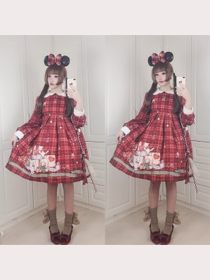 Diamond Honey Christmas Gift Box Bear Lolita Dress OP