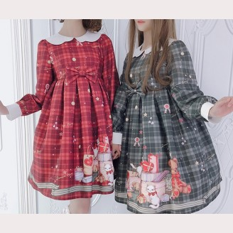 Diamond Honey Christmas Gift Box Bear Lolita Dress OP & KC Set (DH105)