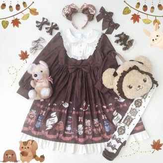 Diamond Honey Little Raccoon Cafe Lolita Dress OP & KC Set
