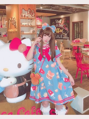 Diamond Honey Bear Burgers Sweet Lolita Dress OP (DH153)
