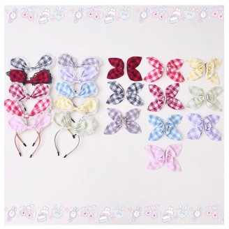 Diamond Honey Summer Plaid Sweet Lolita Rabbit Ears Accessories 2019