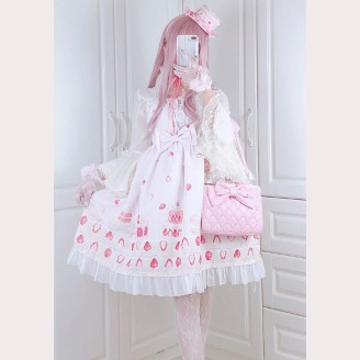 Diamond Honey Strawberry Macaron Sweet Lolita Dress JSK (DH147)