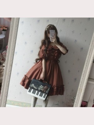 Hazelnut latte Lolita Dress Short Sleeves OP (HL02)