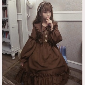 Hazelnut latte Lolita Dress Winter OP (HL01)