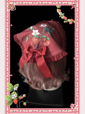 Infanta Strawberry Bouquet Striped Lolita Headscarf