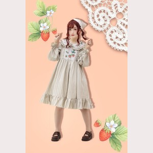 Infanta Strawberry Bouquet Striped Lolita Dress OP