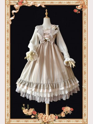 Infanta Striped Classic Lolita Vintage Dress & KC Set