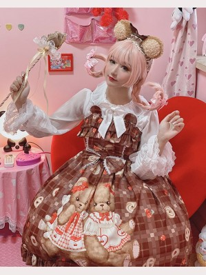 Diamond Honey Cookie Bears Lolita Dress JSK & KC Set (DH198)