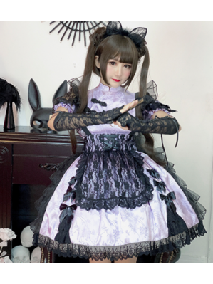 Diamond Honey Black Lace Lolita Apron (DH231)