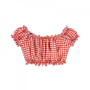 Diamond Honey Red Plaids Sweet Lolita Style Crop Top (DH244)