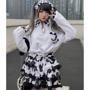 Cow Pattern X Panda Kawaii Style Sweater by Diamond Honey (DH306)