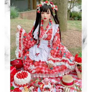 Diamond Honey Cherry & Strawberry Japanese Yukata Sweet Lolita Dress (DH219)