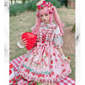 Diamond Honey Strawberry Picnic Rabbit Sweet Lolita Dress JSK (DH221)