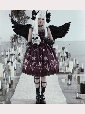 Diamond Honey Skull & Cross Gothic Lolita Dress JSK (DH34)