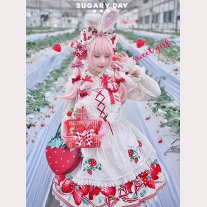 Diamond Honey Strawberries Sweet Lolita Apron (DH207)