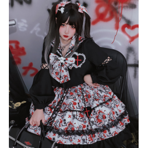 Bad Girl Yandere JK Lolita Style Top & Skirt by Diamond Honey (DH291)