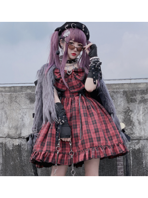 Diamond Honey Plaid Punk Lolita Style Dress JSK (DH277)
