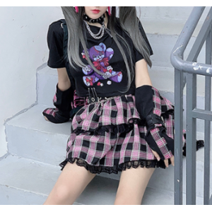 Diamond Honey Darkening Strawberry Bear Lolita T-Shirt (DH258)