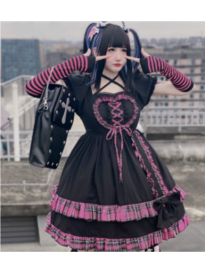 Diamond Honey Black X Pink Checked Puff Sleeve Lolita Dress OP (DH264)