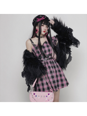 Diamond Honey Pink Plaid Egirl Dress (DH270)