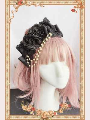 Infanta Black Big Flower Lolita Hair Clip (IN920)
