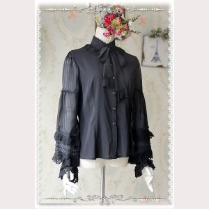 Infanta Black Chiffon Lolita Blouse (IN924)
