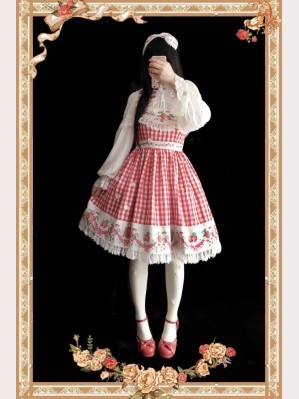 Infanta Plaid strawberry Lolita Dress JSK