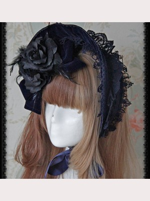 Infanta Dark Blue Classic Lolita Bonnet (IN951)