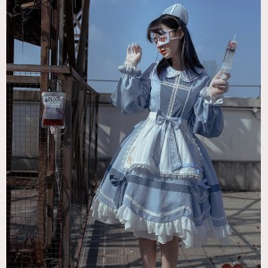 Nurse Uniform Yandere Lolita Dress OP & Apron Set by withpuji (WJ01)