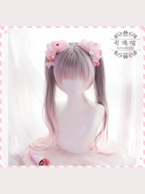 Double Ponytail Gray Pink Gradient Lolita Wig (PG05)